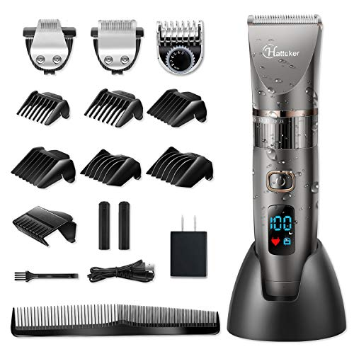 Hatteker Mens Beard Trimmer Cordless Hair Trimmer Hair Clipper Detail Trimmer 3 In 1 for Men Hair Cutting Kit Men
