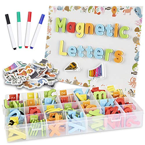 CHUCHIK ABC Magnetic Letters Set for Kids and Toddlers. Alphabet Lowercase and Uppercase Foam Magnets with White Board, 4 Pens and Eraser (Letter-5-colors)
