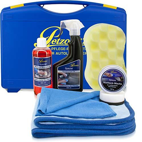 Mattlack-Komplett Pflegeset; Petzoldts Shampoo, Reiniger, Wachs, Zubehör und Koffer