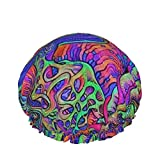 Trippy Setas Badehose Gorro de ducha reutilizable impermeable duradero con elástico para bañarse tratamiento facial se adapta a la mayoría de las circunferencias de la cabeza