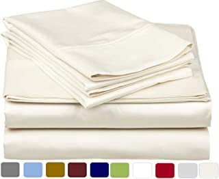 100% Percale Cotton Sheet Set - 400 TC Percale Weave, Crispy Cool, Lightweigt Soft & Breathable 4 Pieces Bedding Sheets, Ivory Solid | Short-Queen Size Sheets, Fits up to 15