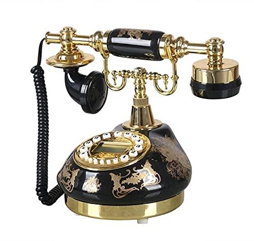 Teléfonos decorativos antiguos de moda Teléfono fijo con cable de dial rotativo, teléfono rotatorio antiguo de moda Teléfono giratorio con altavoz y función de rellamado para el hogar y la oficina