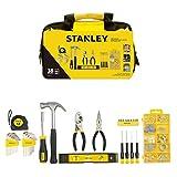 Stanley Stmt0-74101 Composition d'Outils mix Dans Un Sac Souple - mesure - marteau - Tournevis Porte-Embouts - Tournevis de Précision - Pinces - Niveau… - Dimensions : 33 x 20 x 16.5 cm - 38 Pièces
