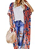Women's Long Kimono Cover Ups Plus Size Chiffon Floral Beach Boho Lightweight Summer Cardigan Thin Sheer Short Sleeve Tops XX-Large Orange-Red