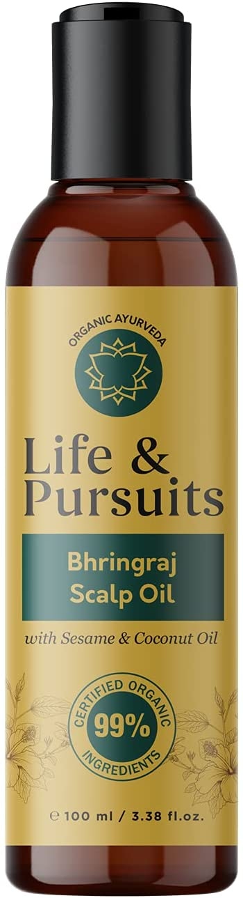 Life & Pursuits USDA Organic Hair Growth Oil (100 ml) With Bhringraj, Amla, Onion, Almond, Sesame, Coconut & Castor Oil For Ayurvedic dry Scalp Therapy, Strong & Healthy Hair