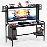 TIYASE Gaming Desk with Monitor Stand, 55 Inch Gaming Computer Desk with Hutch and Storage Shelves, Large PC Gamer Desk Workstation Gaming Table with Cup Holder, Headphone Hook, Speak Stands (Black)