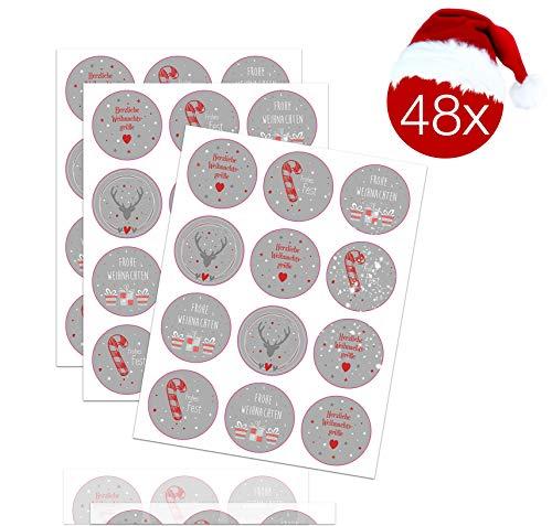 TK Gruppe Timo Klingler 48x Aufkleber Sticker Geschenkaufkleber Weihnachten selbstklebend rund für Geschenke, Weihnachtsaufkleber, Weihnachtsverpackung