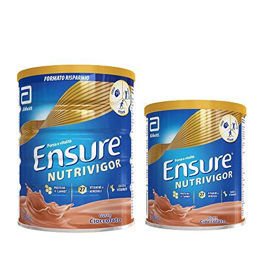 Ensure NutriVigor Integratore in Polvere al Cioccolato, Multivitaminico Multiminerale| Confezione 850g + Integratore in Polvere con Vitamine e Minerali |Confezione da 400gr |Gusto Cioccolato