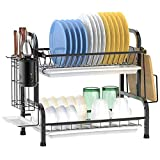 Dish Drying Rack, F-color 2 Tier Dish Rack with Utensil Holder for Kitchen Countertop, 304 Stainless Steel Anti Rust Dish Drainer with Drain Board, Black