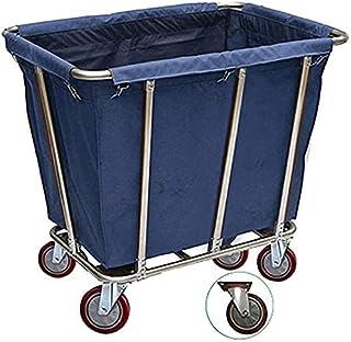 Panier à linge bleu robuste à roulettes pour hôtel, maison, sac amovible