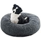 Calming Donut Dog Beds for Small Medium Dogs Cats, Dog Bed Anti-Anxiety Dog Cuddler Bed Round Pet Bed,Warming Fluffy Faux Fur Machine Washable Orthopedic Puppy Beds (Dark Grey, 60cm)