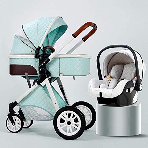 PROMCHCHAIR PRAMA DE VISTA ALTA, CARGO PARA BEBÉ PARA INFANTIL Y NIÑO CON LA CUBIERTA A LIVE A prueba de intemperie y la bolsa de mami, 3 en 1 cochecito de bebé, absorción de choque de cuatro ruedas