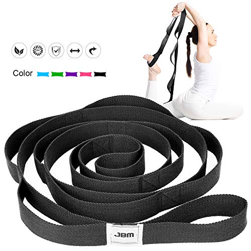 JBM Stretching Exercise Strap with 10 Flexible Loops Thicken Exercise Band Gravity Fitness Stretching Strap Physical Therapist Recommended Exercises and Pilates Workouts 4 Colors provided