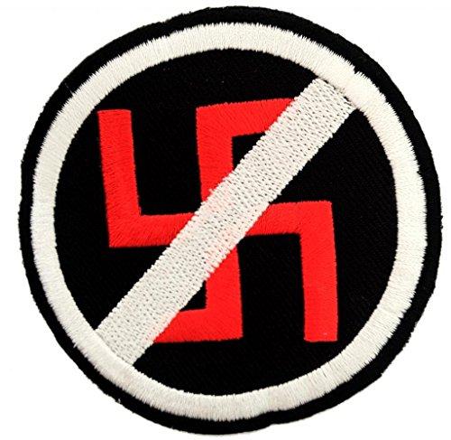 Aufnäher / Bügelbild - Anti Nazi - schwarz - Ø7,5 cm -Patch Aufbügler Applikationen zum aufbügeln Applikation Patches Flicken by catch-the-patch®