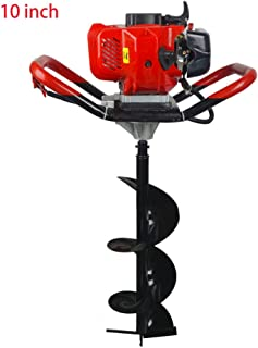 ECO LLC 52cc 2.4HP Gas Powered Post Hole Digger with 10 inch Earth Auger Drill Bit