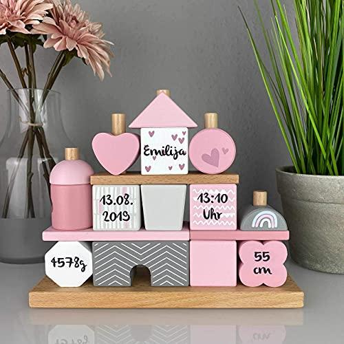 """Geschenk zur Geburt Mädchen""""Steckspiel Haus"""" rosa - bedruckt personalisierbar - Stapelturm mit Name & Geburtsdaten"""