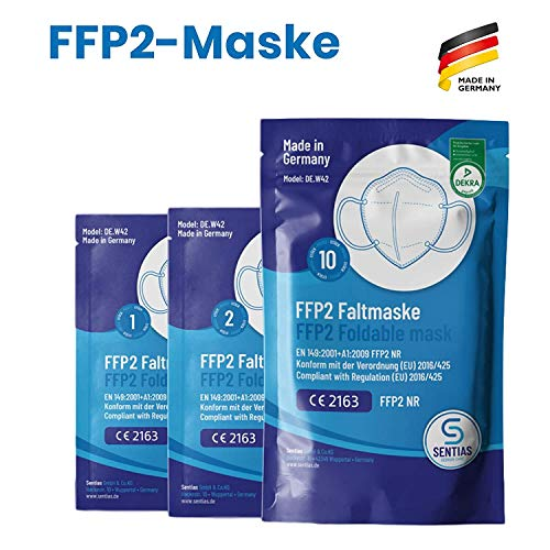 FFP2 Maske in Deutschland hergestellt – DEKRA zertifizierte Atemschutzmaske mit 98% Filterwirkung – EN 149 geprüft, 4-lagig, kein KN95-10 Stück - 4