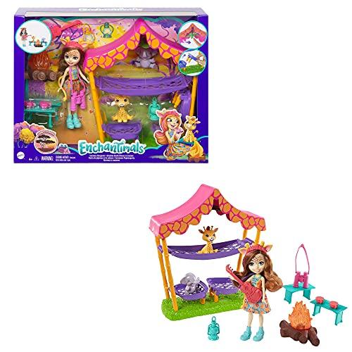 Enchantimals Sunny Savanna Gilian Giraffe Muñeca con set de acampada, mascotas...