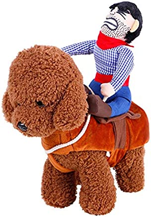 meizhouer New Cowboy Dog Costume Novelty Clothes for Dogs Riding-Horse Outfit Funny Pets Costume Party Cosplay Pet Jacket (S)