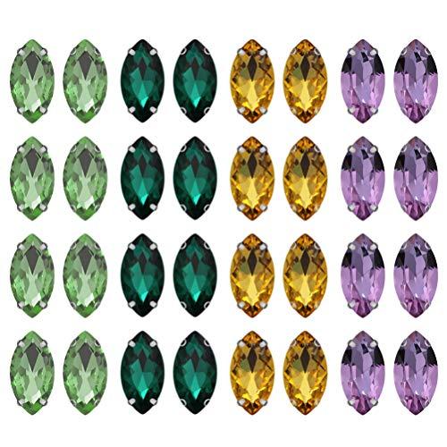 Happyyami 200 Piezas Cosen Diamantes de Imitación Cristales de Vidrio Gemas Acrílicas Pedrería de Espalda Plana Hierro en Parche Apliques de Diamantes para Manualidades Diy Ropa de Vestir
