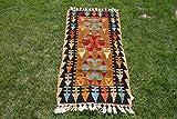 Alfombra tradicional turca de lana antigua hecha a mano turca multicolor con diseño geométrico, 2 x 4 pies