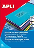 APLI 1224 - Etiquetas translúcidas imprimibles (70,0 x 37,0), resitentes a la intemperie 20 hojas