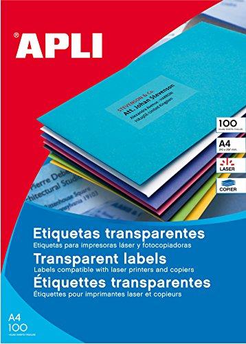 APLI 1223 - Etiquetas translúcidas resistentes intemperie 48,5 x 25,4 mm 20 hojas
