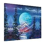 JIANSHAN Luna llena y paisaje pintura al óleo colgar para decoración de pared, dormitorio, sala de estar, oficina, 16 x 20 pulgadas (sin marco)