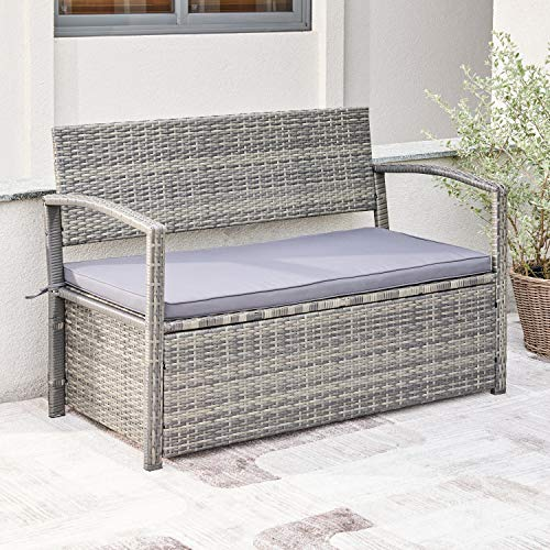 VIFAH V1924 Gabrielle All-Weather Resin Wicker Lounge Patio Sofa Storage Bench in Grey with Cushion, Gray
