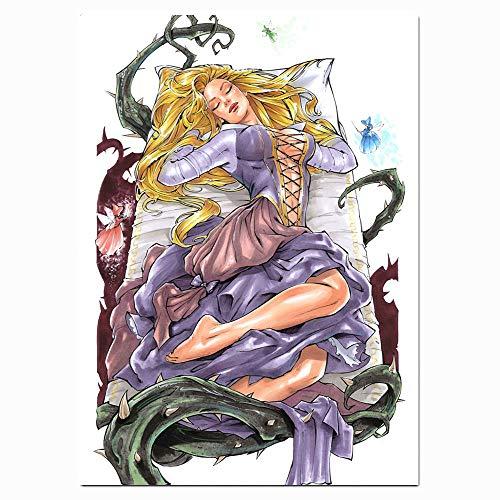 FOCLKEDS Poster, Motiv: Prinzessin liegt auf einem Bett von Dornen, modern, abstrakt, 45,7 x 61 cm, gerahmt, moderne Heimdekoration, gespannt und fertig zum Aufhängen