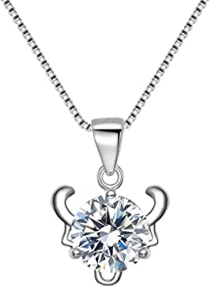 Women's 925 Sterling Silver CZ 12 Zodiacal Constellations Daily Pendant Necklace Chain Clear