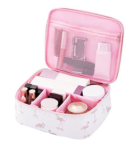 Neceser Maquillaje Neceser de Viaje Mujer Bolso Cosmético Bolsa de Cosmeticos Bolsas de Aseo Cosméticos Organizador Neceser con Compartimentos Almacenamiento Cosmética Bolsa de Lavado Mujeres Flamingo
