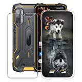 HHUAN Case for Cubot King Kong 5 Pro (6.09 Inch) with Tempered Glass Screen Protector, Clear Soft Silicone Protective Cover Bumper Shockproof Phone Case for Cubot King Kong 5 Pro - WMA27