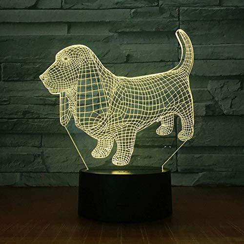 Mascota Perro Acrílico Multicolor 3D Lámpara de mesa Luz USBLED Luz nocturna Regalo para niños