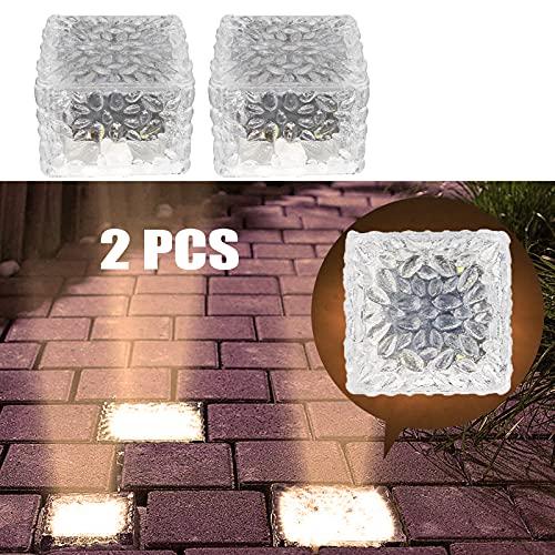 MEDOYOH 2 unidades de 4 LED blanco cálido luz sepolta solar ladrillo...