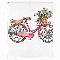マウスパッド 赤い自転車フラワーバスケット