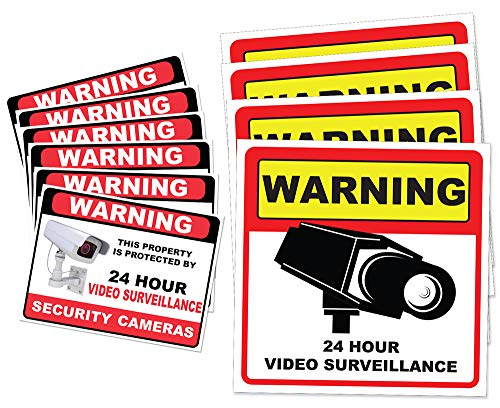 """Video Surveillance Camera Sticker Sign - 10 Pack Decal - Home Business Alarm System Stickers - (4)5½"""" x 5½"""" & (6)3"""" x 4"""" - Adhesive Under 24 Hours Security Warning Signs - Robbery & Theft Prevention"""