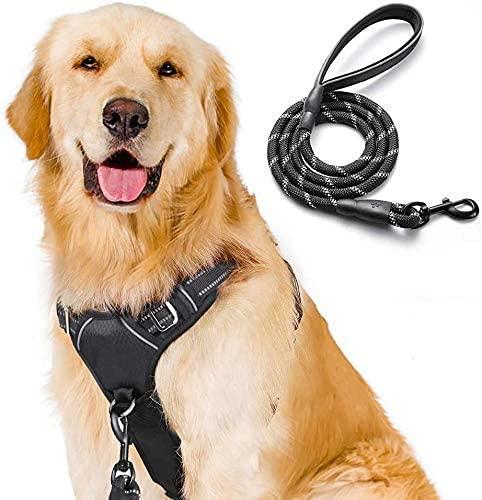 rabbitgoo Hundegeschirr Mittelgroße Hunde No Pull Hundegeschirr Dog Harness Verstellbar Brustgeschirr Ausbruchsicher gepolstert Reflektierend Hundegeschirr Set 1,5M Hundeleine Schwarz L