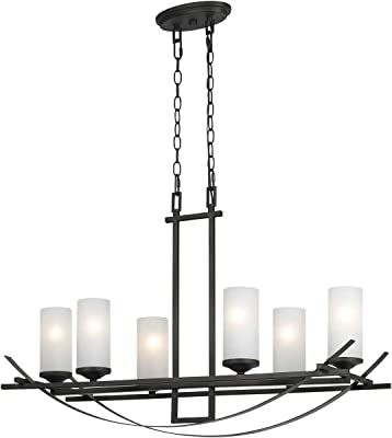 "Chandeliers 6 Light Fixture with Organic Black Finish Metal Material E12 18"" 360 Watts"