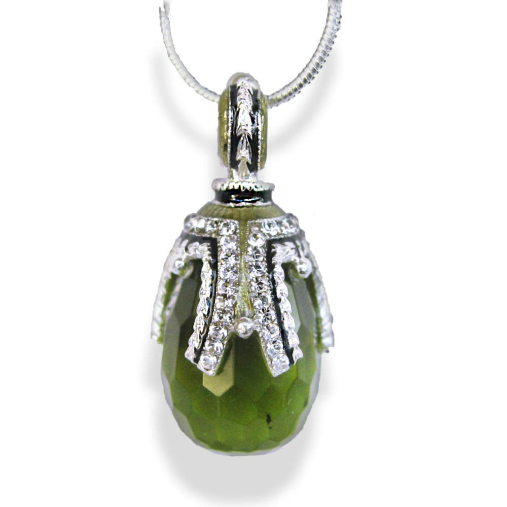 Sterling Silver Necklace Faceted Imitation Limited price Egg Elegant C Pendant Peridot