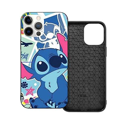 NGNHMFD Lilo & Stitch - Funda compatible con iPhone 11 Pro Max 12 Pro Max Mini SE 2020 6/6s 7/8 Plus X XS XR para teléfono negro