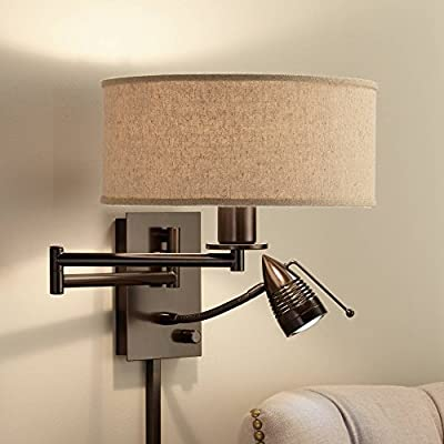 Radix Modern Swing Arm Wall Lamp LED Bronze Plug-in Light Fixture Oatmeal Fabric Drum Shade for Bedroom Bedside Living Room Reading - Possini Euro Design