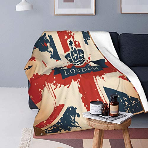 QINCO Soft Micro Fleece Throw Blanket Home Decor,Vintage Travel Suitcase With British Flag London Ribbon And Crown Image,Lightweight Couch Bed Flannel Quilt,50' x 60'