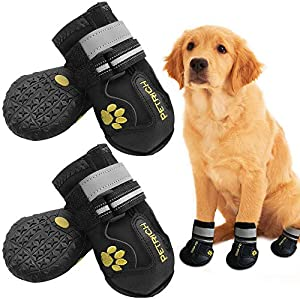 Shaboo Prints Dog Shoes Dog Boots Rain Boots for Medium Large Dogs with Adjustable Reflective Straps Anti-Slip Sole Windproof