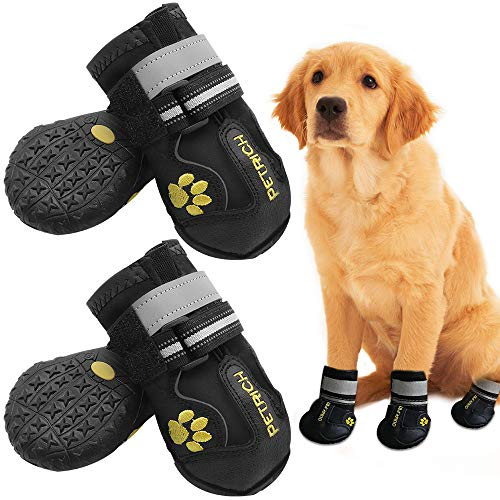 LLNstore Dog Shoes Dog Boots Rain Boots for Medium Large Dogs with Adjustable Reflective Straps Anti-Slip Sole Windproof (7, Black)