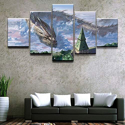 HD print poster woondecoratie woonkamer kunst aan de muur 5 stuks anime originele draak schilderij foto's