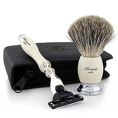 Haryali London Shaving Kit – 2 Pc Shaving Kit – 3 Edge Shaving Blade Shaving Razor - Best Badger Shaving Brush – Shaving Set as Gift – White Color Shaving Set - Elegant Shaving Brush Set