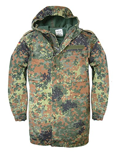 Chaqueta militar alemana original con estampado de camuflaje, con cremallera frontal y...