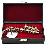 Miniatur Altsaxophon Replik mit Ständer und Gehäuse Vergoldetes Instrument Modell Ornamente...