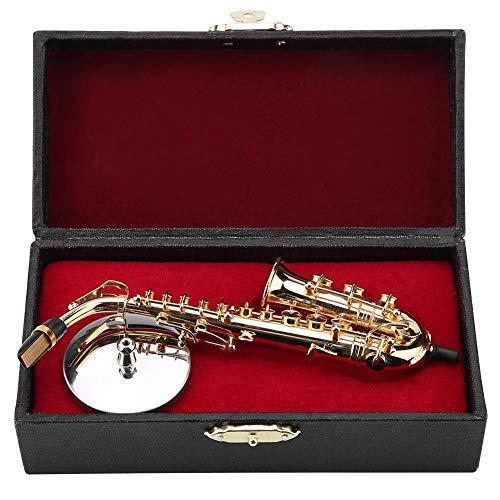 Miniatur Altsaxophon Replik mit Ständer und Gehäuse Vergoldetes Instrument Modell Ornamente Erstklassiges Geschenk Mini-Musikinstrument Modell Golden Plated Musical Ornaments